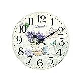 Home Gadgets Reloj de Pared Madera Lavanda Retro 34 cm