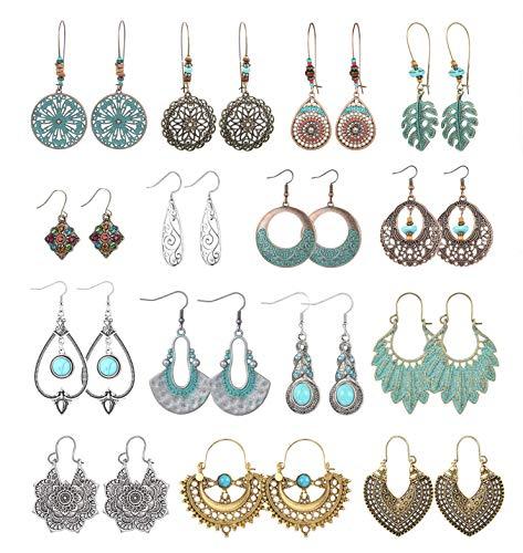 YADOCA 15 Pairs Boho Dangle Earrings Women Statement Vintage Hollow Flower Water Heart Shaped Dangly Earrings Bohemian Drop Dangle Earrings Set for Women Girls