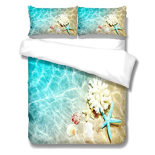 MENGBB Juego de Cama Infantil de Diseño 3D Azul Océano Coral Estrella de Mar 240X220cm Funda Nórdica Cama 90 Niño 100% Microfibra