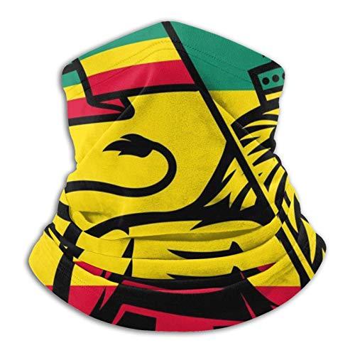 Eliuji Rasta El León de Judá y el Rey de Rastafari Reggae patrón de arte temático amarillo rojo reutilizable pasamontañas casual polaina para el cuello unisex al aire libre parque infantil aquí y allá