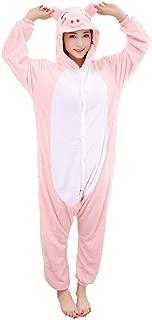HengTian Unisex Adult Cosplay Animal Pajamas Pink Pig Onesie Sleepwear Set
