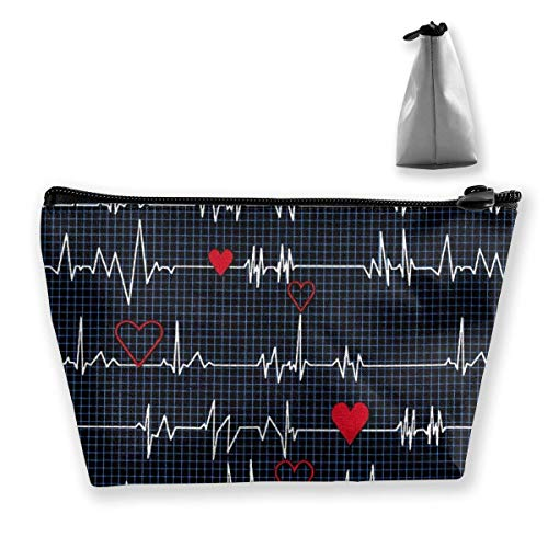 Trapezoid Makeup Pouch Storage Holder Heart Beat Womens Travel Case Cosmetic Makeup Pouch