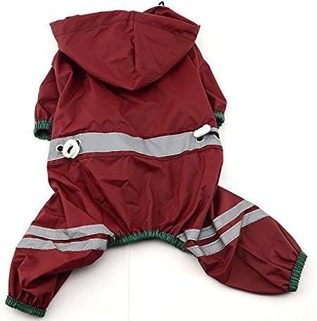 XS Dog Hood Raincoat,Breathable Waterproof Reflective Streaks Cat Dog Jacket Lightweight Dog Cape Slicker Jumpsuit Apparel with Elastic Leg Straps
