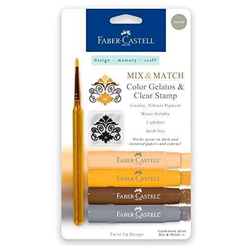 Faber-Castell 121805 - Aquarellkreiden Gelatos mit Pinsel und Stempel, 4 Stück, neutral