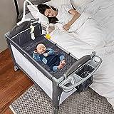 Lovinouse 5 in 1 Baby Bassinet Beside Sleeper Bed Side Crib, Includes Mattress, Diaper Changer, Hanging Toys, Portable Travel Crib for Girl Boy Infant Newborn