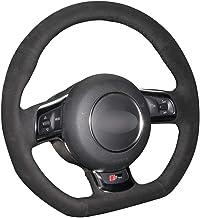 HCDSWSN Fundas para Volante de Coche,para Audi TT TTS (8J) 2006-2014 A3 S3 (8P) Sportback 2008-2012 R8 (42) Cubierta del Volante del automóvil de Gamuza Negra de Bricolaje Cosida a Mano