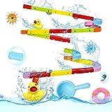 Badespielzeug Wasserbahn Kinder mit Gummiente Wasserball 55 Stücke Kugelbahn Waterplay Wasserspiel Kleinkinder Baby Spielzeug Kinderspielzeug Wasserspielzeug Badewannenspielzeug ab 3 4 5 6 7 Jahren