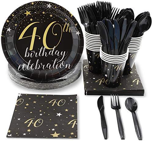 Einweggeschirr Party-Set 40th Birthday von Blue Panda- Für Party zum 40. Geburtstag - Für 24 Personen inkl. Plastikmesser, Plastikgabeln u. -löffel, Pappteller, Servietten, Pappbecher - Schwarz