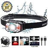 Stirnlampe LED Wiederaufladbar USB Kopflampe Stirnlampe Zoombar Wasserdicht Verstellbar Mini...