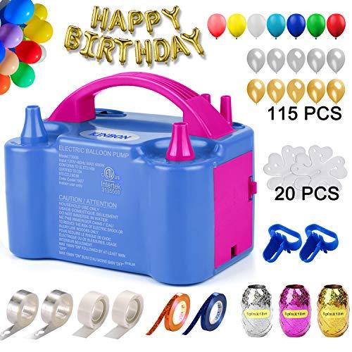 160 Pcs Balloon Pump KINBON Electric Portable Dual Nozzle Electric air Balloon Blower Pump, Electric Balloon Inflator for Party Birthday...