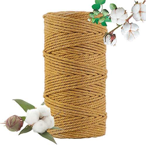 Hecha a Mano Craft Cuerda,Cordel de Algodón,natural trenzado algodon,Hilo Macramé,para Envolver Regalo Navidad Colgar Fotos...