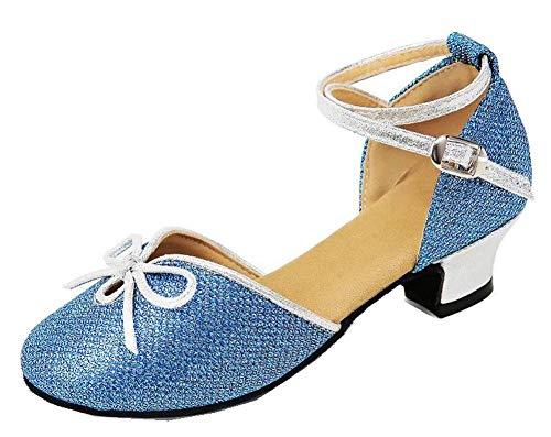 CYSHOES Neue Prinzessin Latein Schuhe mit Absatz Mädchen Kostüm Ballerina Schuhe - Schleife und Pailletten Karneval Festlich für Kinder mit Bogen (34 EU, Blau)