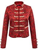 Gothic Steampunk Victorian Coat Costumes Embroider Button Uniform(XL,Red)