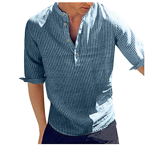Camisa a rayas para hombre, manga corta, verano, corte regular, cuello Kent, azul, L
