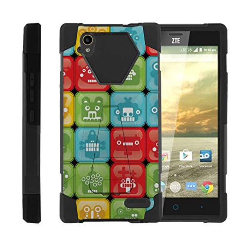 TurtleArmor | Compatible with ZTE Warp Elite Case | N9518 [Dynamic Shell] Impact Cover Hard Kickstand Hybrid Duo Shock Silicone Robot Android - Blocked Robot Heads