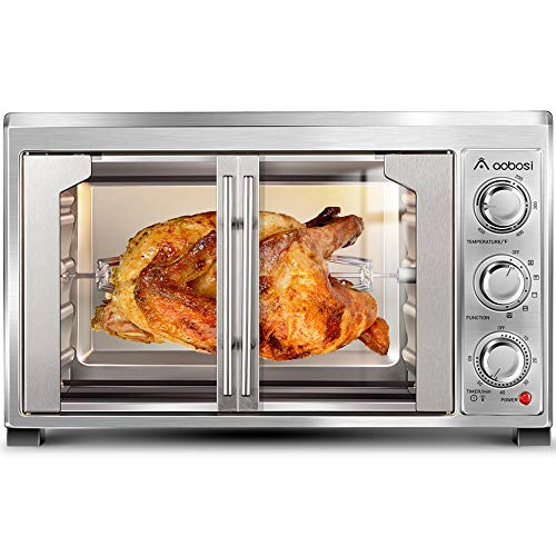 Toaster Convection Oven Countertop Aobosi Convection Toaster Oven Electric Rotisserie Oven Pizza Oven French Single Door Pull Bake/Toast/Roast/Heat 47QT/45L Extra Large 1500W Stainless Steel 27X19X20'