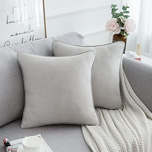 HomeStilez Fundas de Cojines Exterior 45x45 Lino Algodón Modernas Funda de Cojín Decorativo para Sofá Cama Hogar Coche,Interior,Set de 2,Gris
