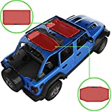 Alien Sunshade Jeep Wrangler JLU (2018-2021) – Front & Rear Mesh Sun Shade for Jeep JL Unlimited - Blocks UV, Wind, Noise - Bikini JLkini Top Cover for Sport, Sport S, Sahara, Rubicon (Red)
