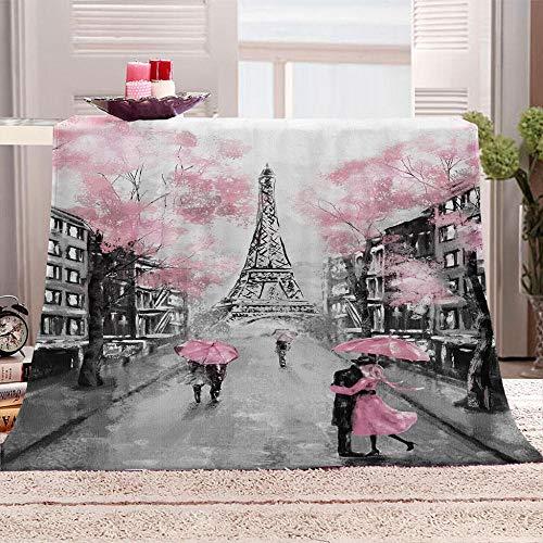 xczxc Kaschmir Decke Rosa Romantisches Paris Flanell Mikrofaser Sofa Decke Weich Wärme Tagesdecke Hohe Farbechtheit Und Kein Haarausfall 180x200cm