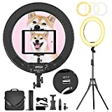 Ivisii Ring Light 18 inch with Stand and Phone Holder & Ball Head, 60W Bi-Color 3000-5800K, LED Ring Light with Stand for Makeup, Live Stream, YouTube, Vlog, Photography by Phones, Camera, Tablets