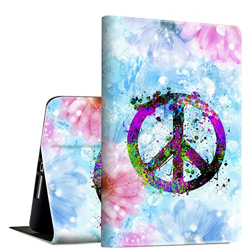 iPad Mini 4 Case, Rossy PU Leather Folio Smart Cover TPU Shock Protection Case with Adjustable Stand & Auto Wake/Sleep Feature for Apple iPad Mini 4th Generation 2015,Floral Peace Sign