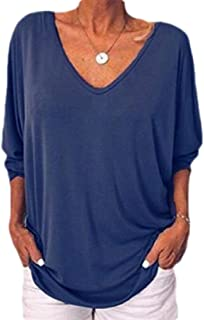 MK988 Women T-Shirts 3/4 Sleeve V Neck Loose Pure Color T-Shirt Blouse Top