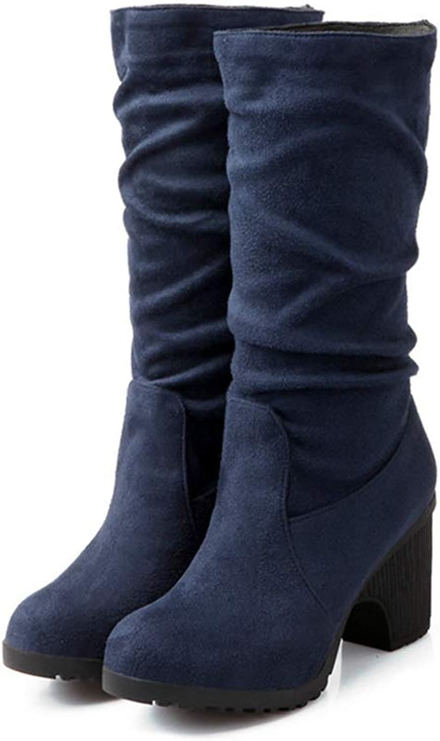 Autumn Winter Flock Ladies Boots Elegant Platform Woman Boots High Heels Classic Mid Calf Boots bluee