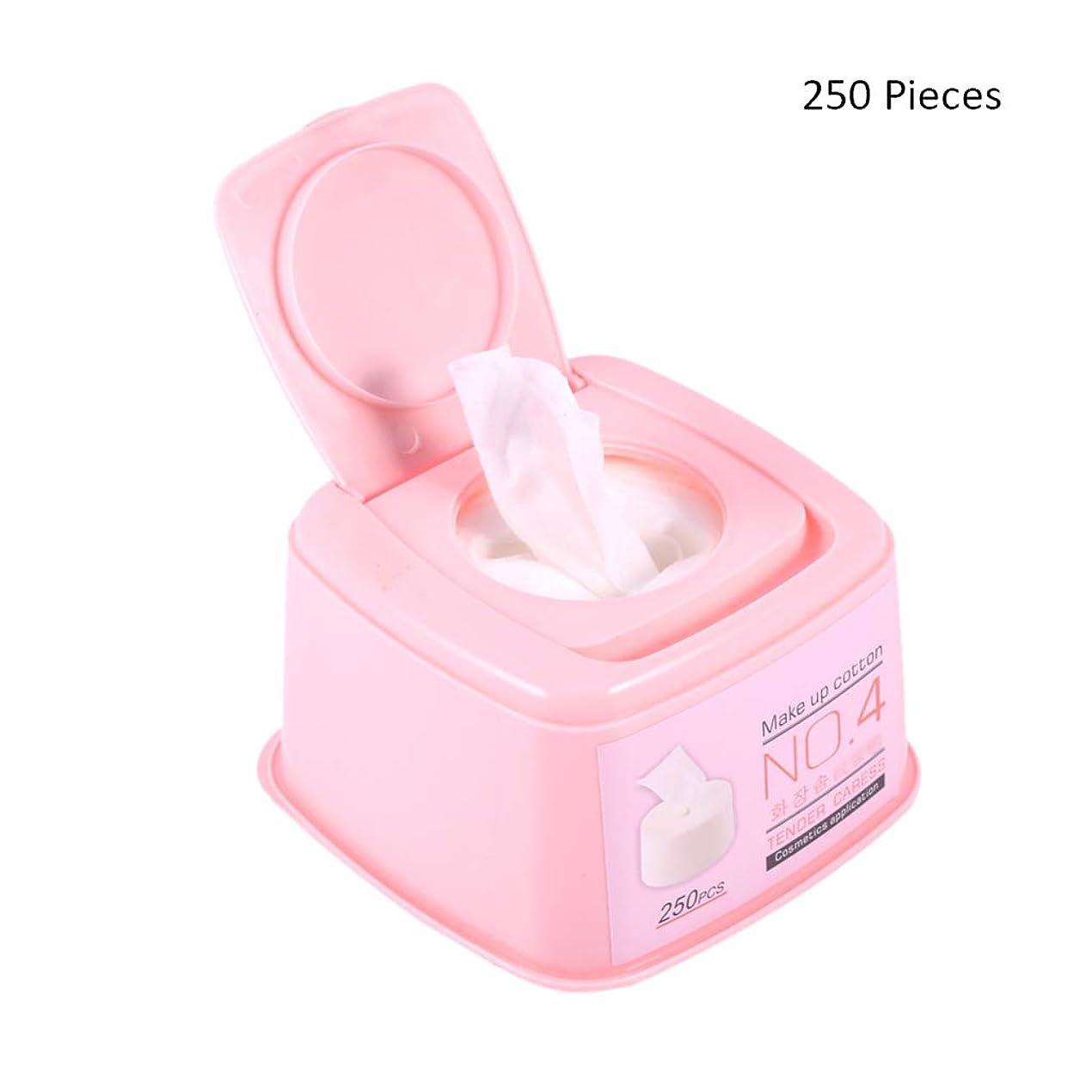 ダーベビルのテス取り囲む伝える化粧パッド 250ピース/ボックスフェイスメイクアップリムーバー化粧品フェイシャルアイクレンジングコットンパッド女性ソフトシート化粧引き出しコットンパッド メイク落とし化粧パッド (Color : Pink, サイズ : 11.5*11.5*7cm)