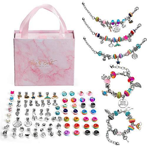 Wodasi 85 Pezzi Kit per Braccialetti Ragazza, Kit di creazione di Braccialetti con Ciondoli Perline Catene per Gioielli, Braccialetto di Creazione del Braccialetto di Fascino, Regalo Compleanno