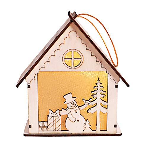 LhiverFR Bois Noël Triangle De Cabine Suspendue Decoration Ornement Cadeau Lumineux