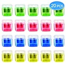 MENOLY 20 Pack Double Hole Pencil Sharpener Manual Pencil Sharpener with Lid Hand Pencil Sharpeners for School Office Home (Pink/Yellow/Green/Blue)