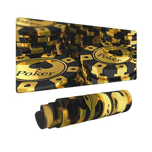 YOLIKA Extra Grande Alfombrilla de Ratón,L-80 x 30 x 0.3cm,Decoraciones para torneos de póquer Fichas de póquer Doradas y Negras Club de Juego Pila de Mon,para el Trabajo Juego Computadora Portátil