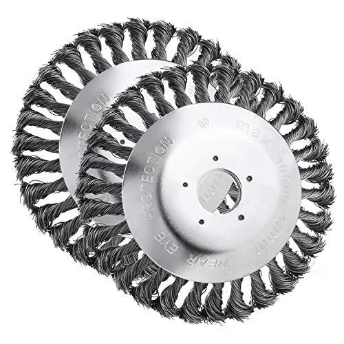 Uunkrautbürste freischneider (2 Pack Gezopft) Bodendurchmesser 150 mm Bohrung 25,4 mm Kegelförmig Geknotet Gezopfter Stahldraht für Freischneider Motorsense
