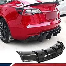 JC SPORTLINE Carbon Fiber Rear Diffuser fits for Tesla Model 3 Sedan 2016-2021 Bumper Cover Lower Lip Spoiler Valance Protector Body Kits Factory Outlet