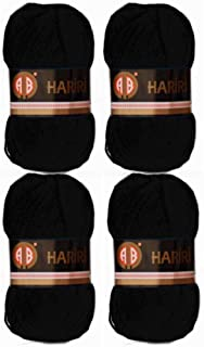 AB Hariri Crochet and Knitting Yarn Available in Multiple Colors, Great for DIY projects (Black Set of 4)