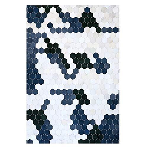 ZJX-F Kuhfell Teppich Mat Stitching Nordic Wohnzimmer Geometrisches blaues amerikanisches Licht Couchtisch Mat Schlafzimmer Nachtdecke (Size : 240cm×340cm)