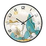 Hkwshop Reloj de Pared Simple luz China del Metal Reloj de Pared de Estar Sala de Estudio Dormitorio Silencio Pared Reloj de Pared del Reloj Decorar La Oficina o Casa (Color : B)