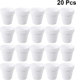 Yarnow Macetas de Arcilla de 20 Piezas - Mini Macetas de Terracota de Cerámica con Orificio para Plantas Suculentas Artesanías (Blanco)