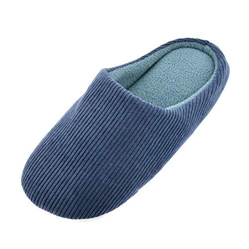 Knixmax Zapatillas de Estar por Casa para Hombre Mujer, Zapatos Memory Algodón Pantuflas, Zapatillas Cómodas Suave CáLido y Antideslizante Zapatillas para Interior, Hotel, Hogar, Azul EU 42-43