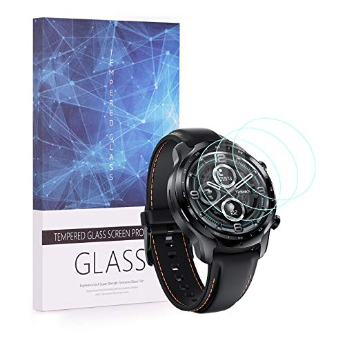 UIQELYS 3-Pack Screen Protector for TicWatch Pro 3 GPS Smartwatch, Full Coverage 2.5D 9H Hardness Tempered Glass Protective Film Scratch Resistant