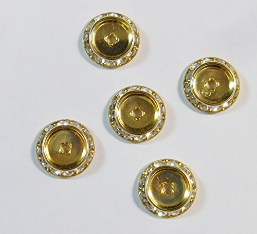 Perlin F188 4 Intermediate Parts Metal with Czech Crystal Rhinestones Spacer Gold 20 mm