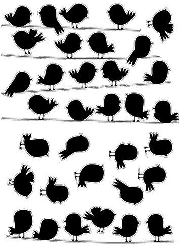 Décoration adhésive 157159 Petits Oiseaux sur Le Fil, Polyvinyle, Noir, 21 x 0,1 x 29,6 cm