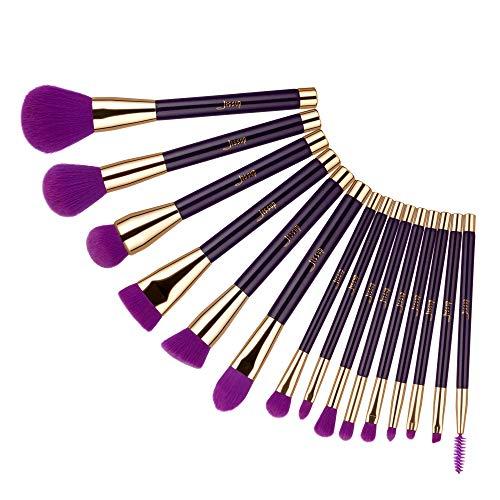 Jessup Ensemble de pinceaux de maquillage 15 pièces Ensemble de pinceaux professionnels essentiels avec correcteur de fond de teint synthétique Contour Rougir Violet/Violet foncé T114