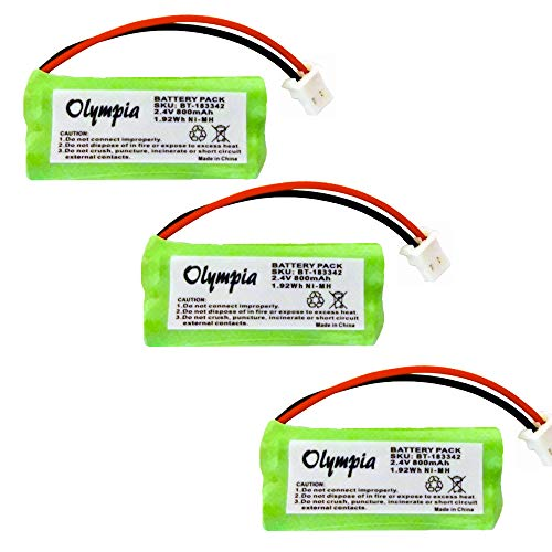 3 Pack Replacement Battery for AT&T CRL82312 Cordless Phone (800mAh, 2.4V, NI-MH)