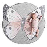 Abreeze Butterfly Baby Round Play Pad Crawling Mat Butterfly Baby Blanket Butterfly Tummy Time Mat Rug for Kids Children Toddlers Bedroom