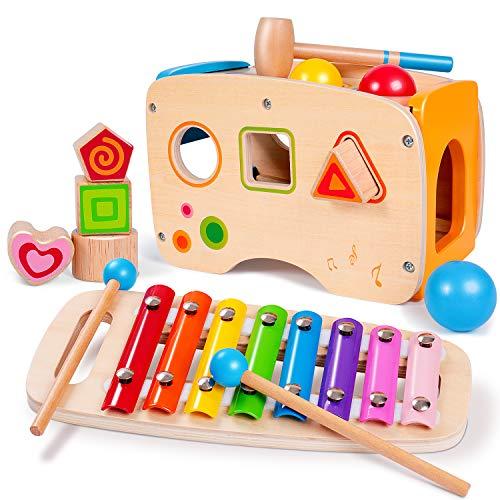 EEKKII Xylophon und Hammerspiel mit Steckwürfel Holz, 3 in 1 Musikspielzeug Nachziehspielzeug für Kinder 1 2 3 Jahre