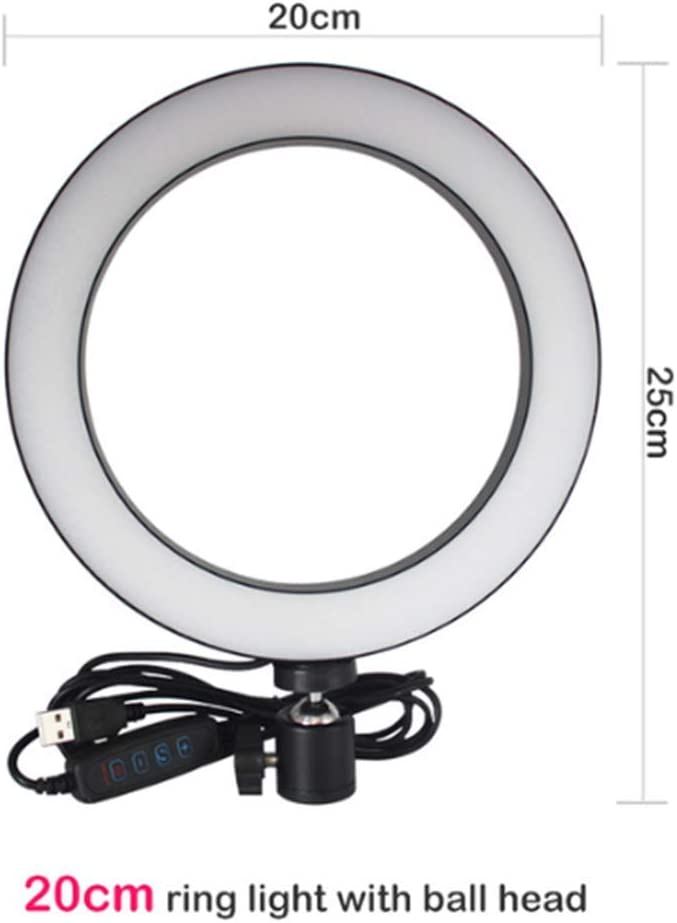 FDGBCF 12 inch 26CM Dimmable LED Studio Camera Ring Light Photo Phone Video Light Lamp with Tripod Selfie Stick Ring Light Phone Holder,White