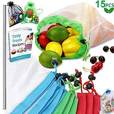 Reusable Produce Bags, 20PCS - 18 Washable Mesh Bag, 2 Mini Bag with Eco Friendly Toy Fruit Vegetable Produce Bags with Drawstrings for Home Shopping Grocery Storage - 3 Various Sizes 12x17In,12x14In,
