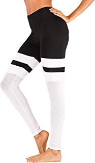Womens Leggings Block Patchwork Striped High Waist Casual Fashion Stretch Skinny Pants