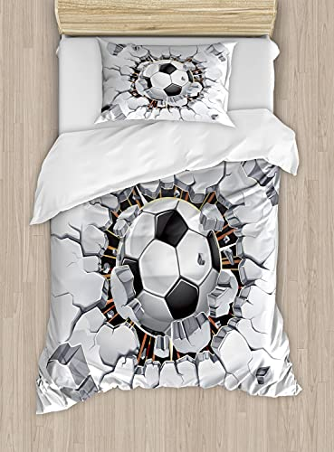 Ambesonne Sports Duvet Cover Set, Soccer Ball and Old Plaster...
